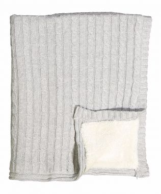 Grey Cable Knit Sherpa Blanket