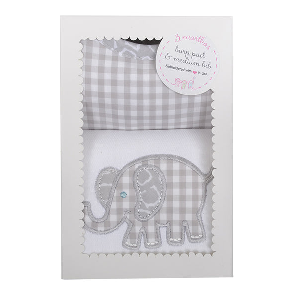Grey Elephant Bib & Burp Box