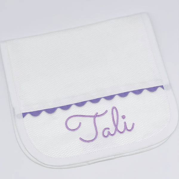 Burp Cloth with Lavender Trim