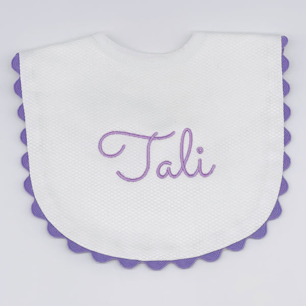 Baby Bib with Lavender Trim