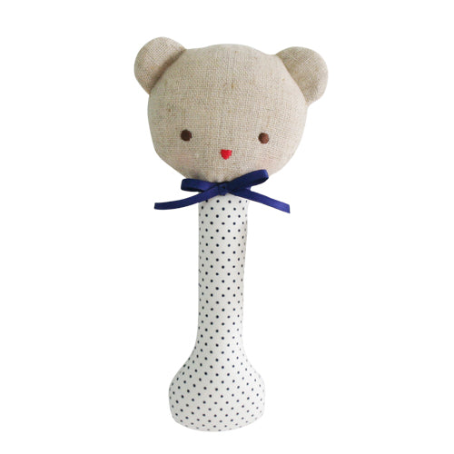 Navy Baby Bear Rattle Stick