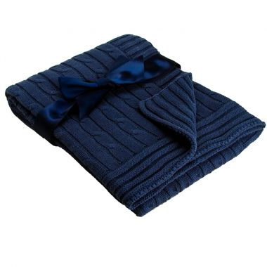 Navy Cable Knit Blanket
