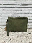 Large Olive Terry Pouch