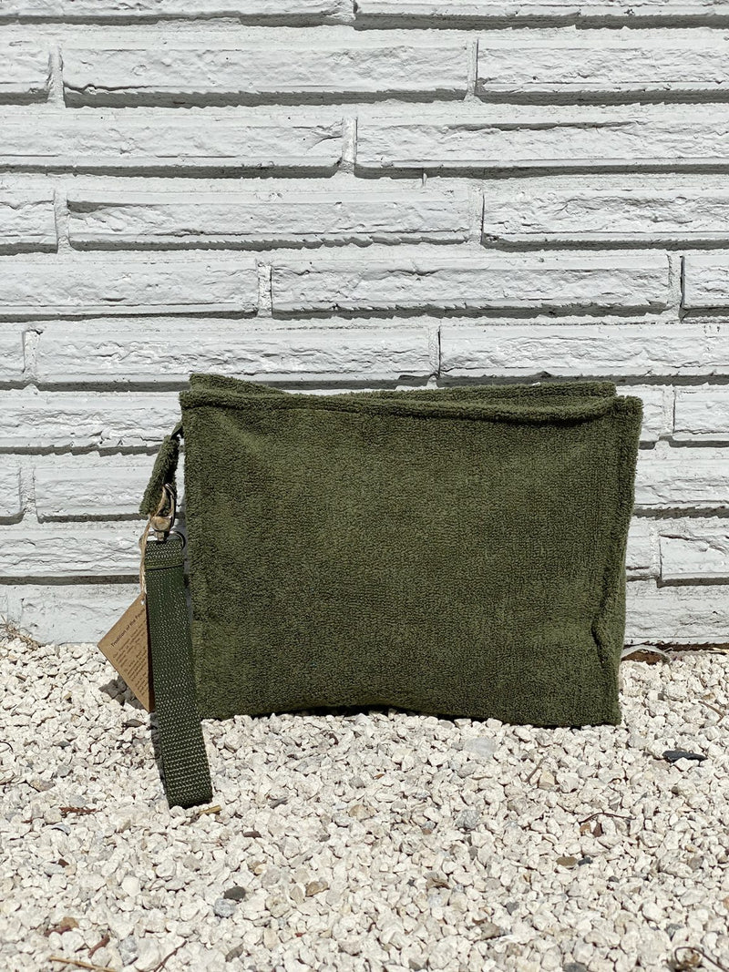 Small Olive Terry Pouch