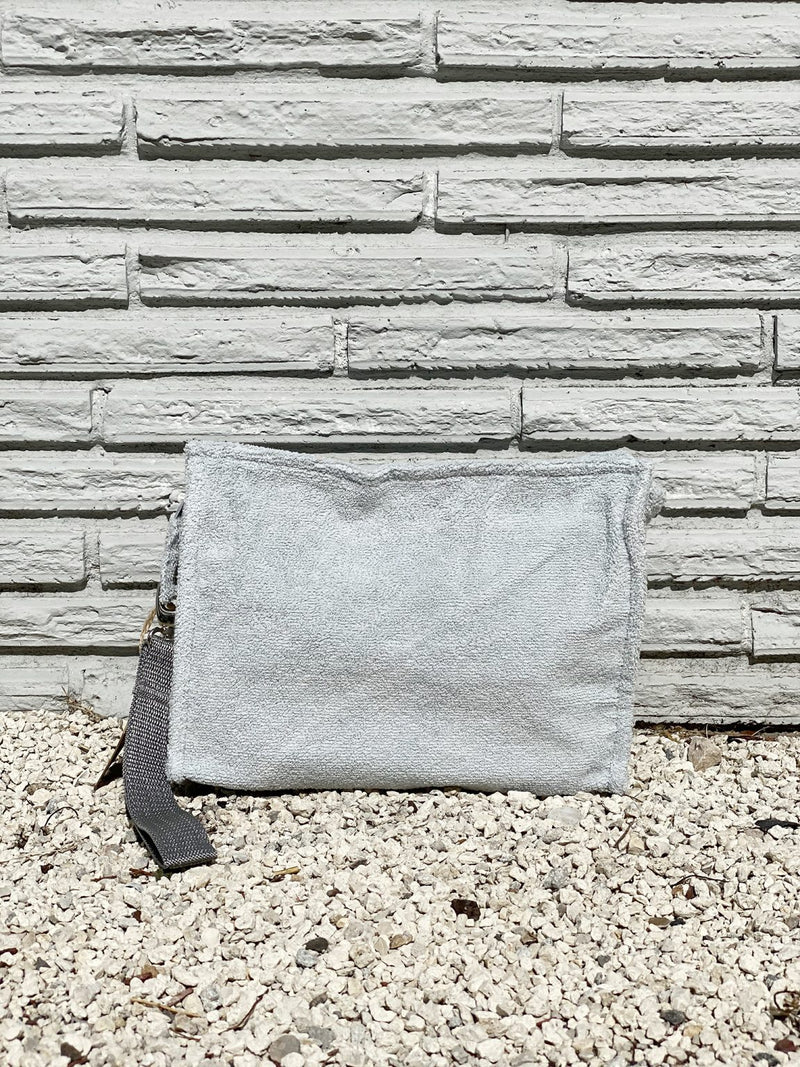 Large Pearl Grey Terry Pouch