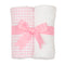 Pink Checkered Set of 2 Burp Cloths
