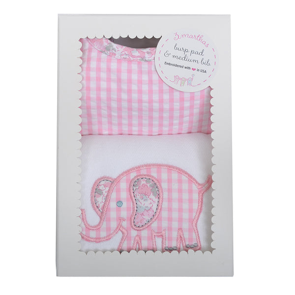 Pink Elephant Bib & Burp Box