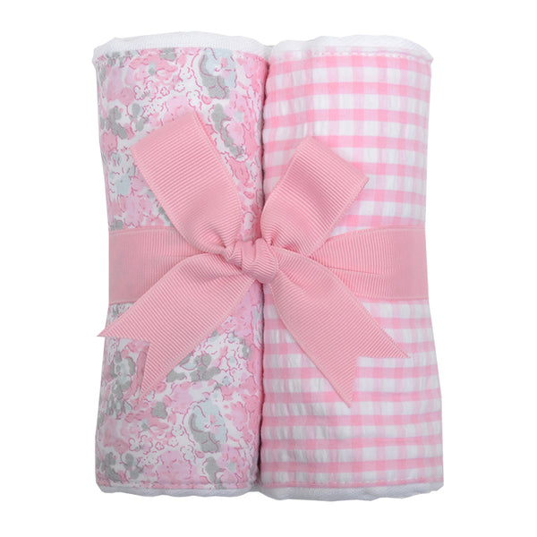 Pink Elephant Set of 2 Burp Cloths