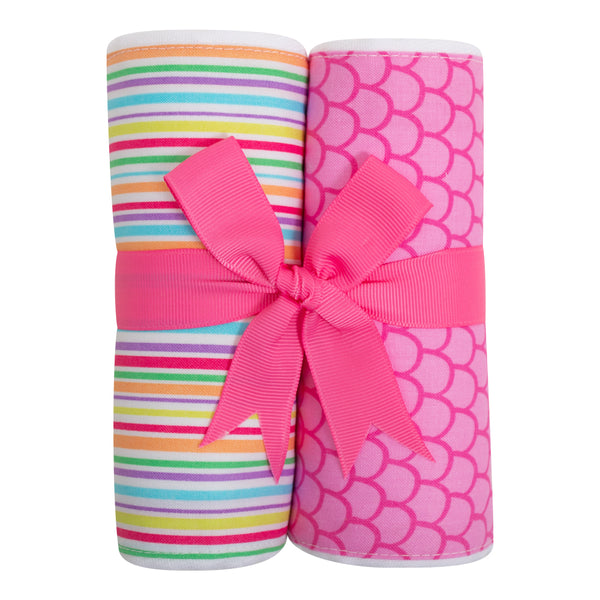 Pink Fish Set of 2 Burp Cloths