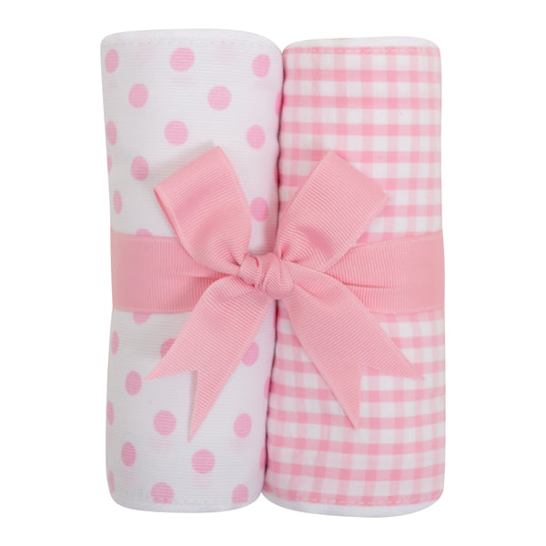 Pink Puppy Set of 2 Burp Cloths