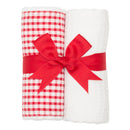 Red Checkered Set of 2 Burp Cloths