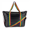 Black Metallic Puffer Tote with Rainbow Straps