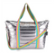 Iridescent Metallic Puffer Tote with Pink Star Straps