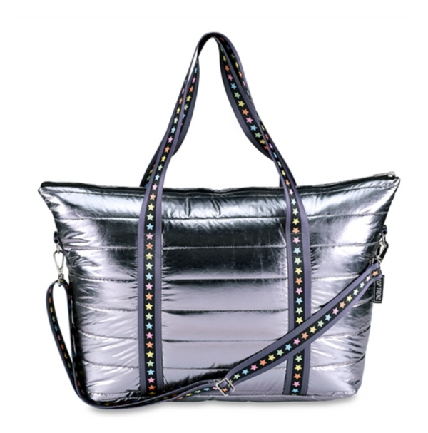Gunmetal Metallic Puffer Tote with Multi Star Straps