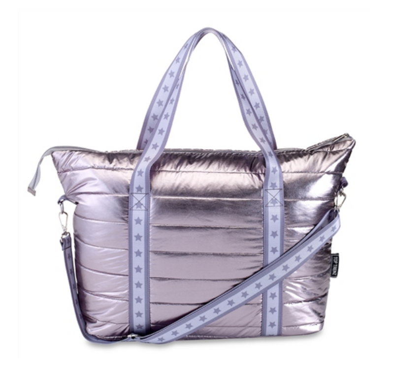 Gunmetal Metallic Puffer Tote with Grey Star Straps