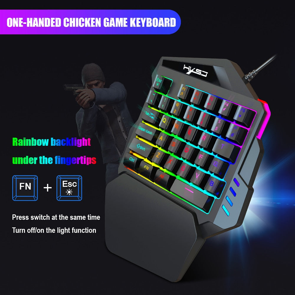HXSJ - J50 Wired Gaming Keyboard And Mouse Beginner Kit (Ergonomic Keyboard, 5500DPI)