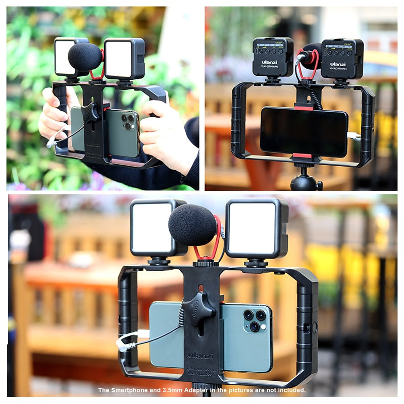 ULANZI - Portable Filmmaking Kit for Streaming/ Youtuber (Microphone/hand Grip/ Mini LED Light)