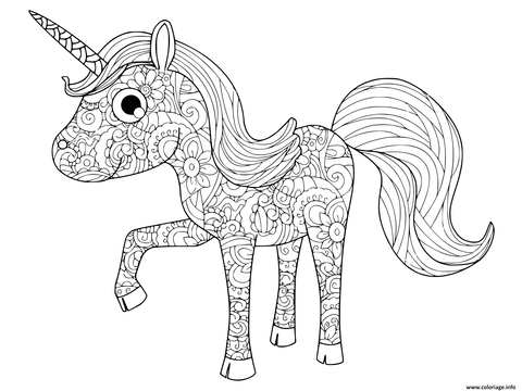 Coloriage licorne anti-stress adulte enfant