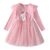 Robe Licorne Manches Longues Rose