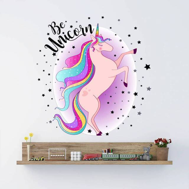 Stickers Licorne Rose Galaxy Bébé