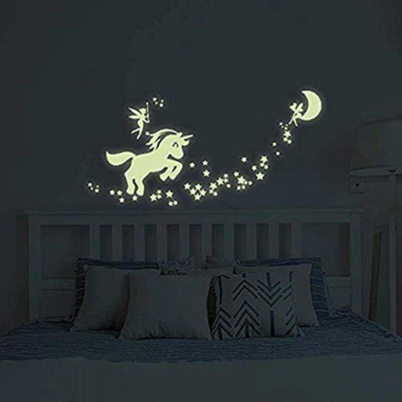 Stickers Mural Licorne Kawaii Fluorescent