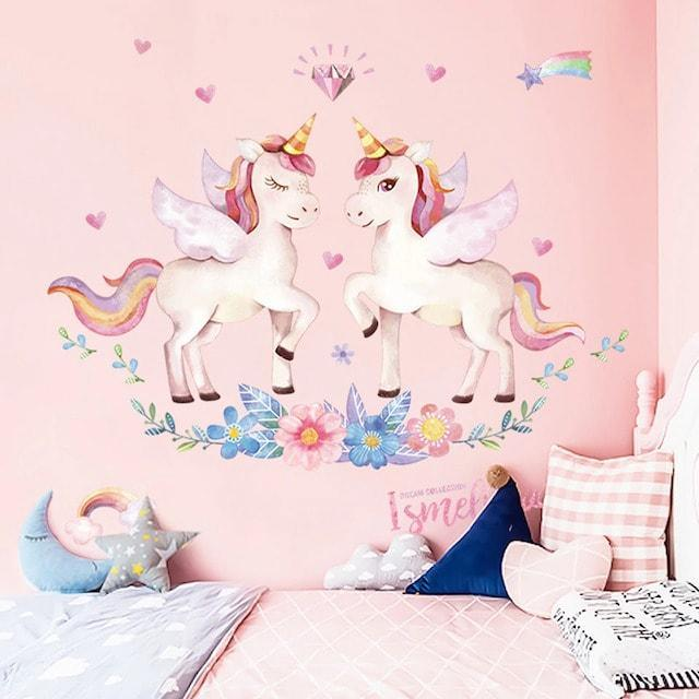 Stickers Muraux Licorne Amour Kawaii