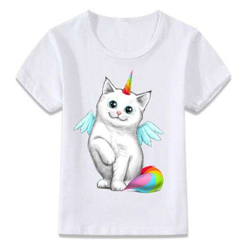 T-shirt Enfant Licorne Chat Kawaii