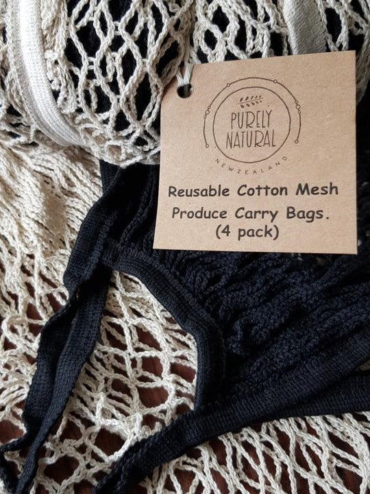 Cotton Mesh Carry Bag Natural 4 pack
