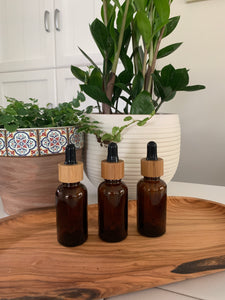 Amber Bamboo Dropper Bottles 3 Pack