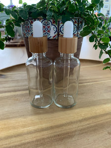 Clear Bamboo Dropper Bottles 3 Pack