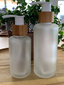 Frosted Bamboo Pump Bottles 2 Pack