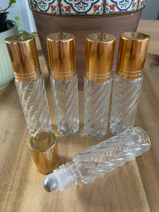 Swirl Glass 10ml Gold Cap Roller Bottles