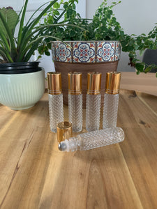 Diamond Glass 10ml Gold Cap Roller Bottles