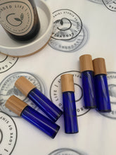 Load image into Gallery viewer, 10ml Blue Roller Bottle with Bamboo Lid