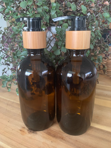 Amber 200ml Bamboo Pump Bottle x 2