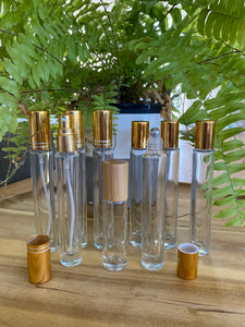 Clear Tall 10ml Roller bottles with Gold Cap