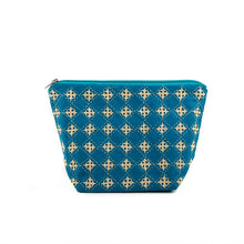 Load image into Gallery viewer, Blue Cotton Handcrafted Pouch Large