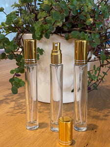 Clear Tall 10ml Mist bottles with Gold Cap