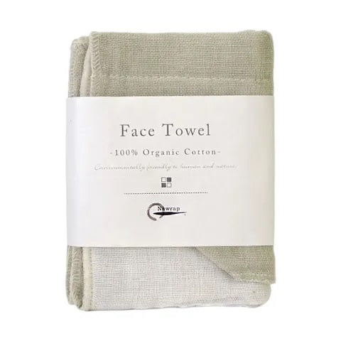 Nawrap Organic Face Towel - Ivory/Green