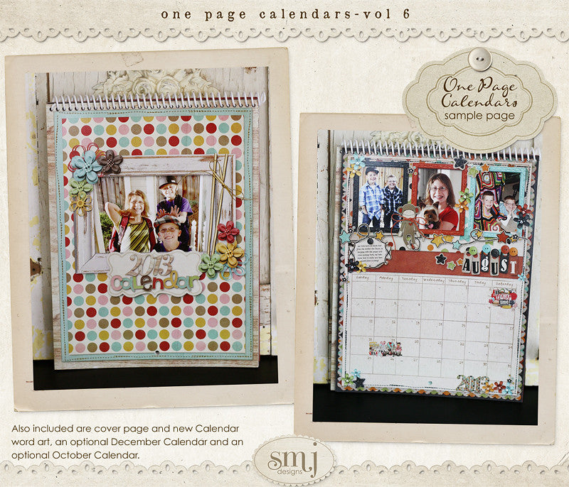 One Page Calendars Vol 6 | Shabby Miss Jenn Designs