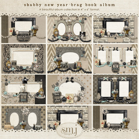 Shabby New Years Brag Book Album