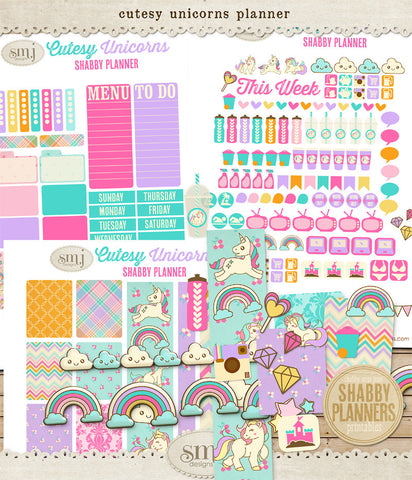 Shabby Planner Cutesy Unicorns