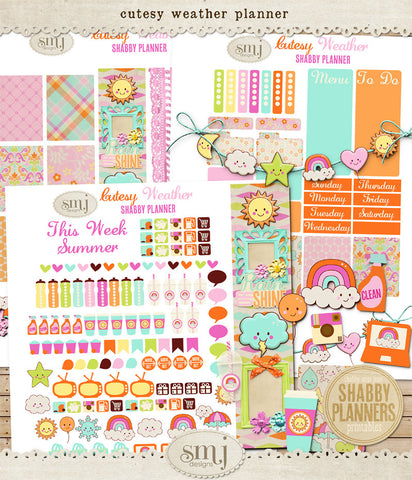 Shabby Planner Cutesy Weather