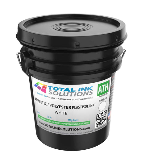 Athletic 100% Polyester Plastisol Ink - White - 5 Gallon