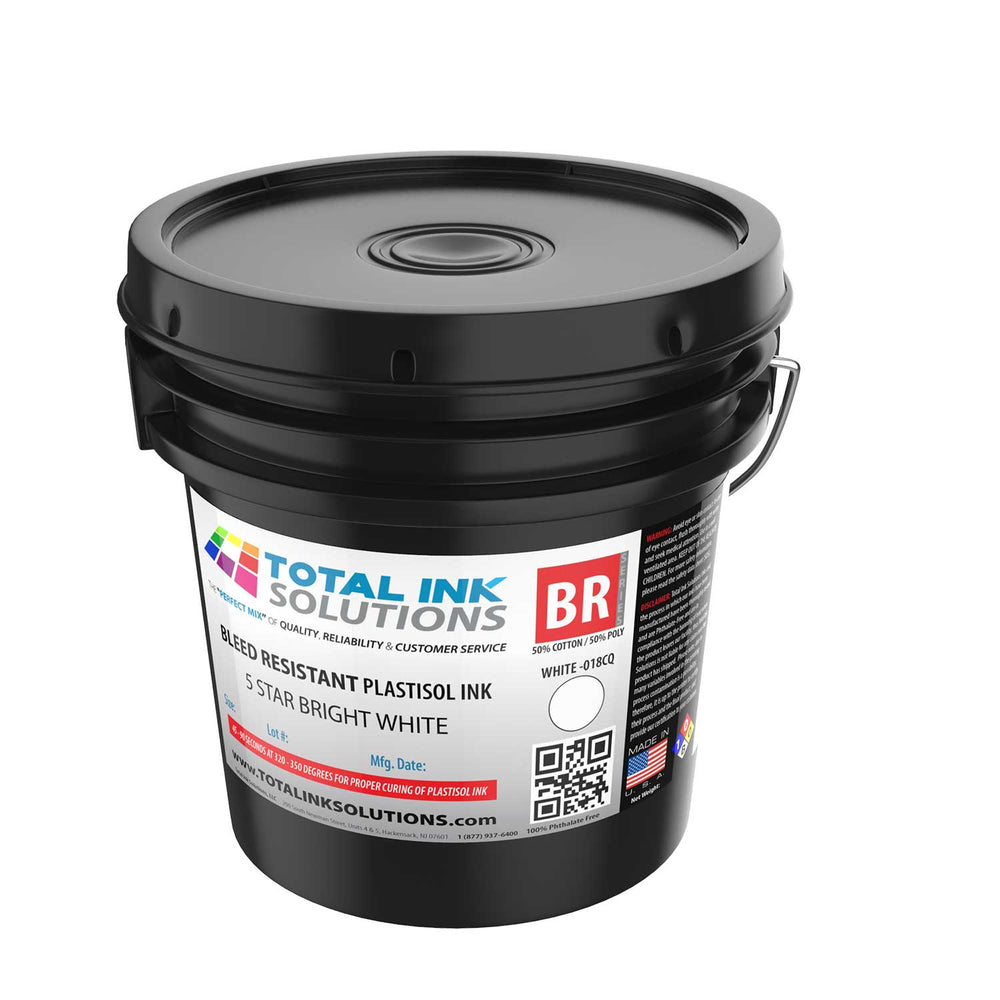 Bleed Resistant Plastisol Ink - 5 Star Bright White  - Gallon
