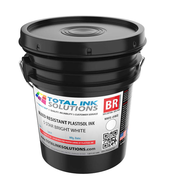 Bleed Resistant Plastisol Ink - 5 Star Bright White - 5 Gallon