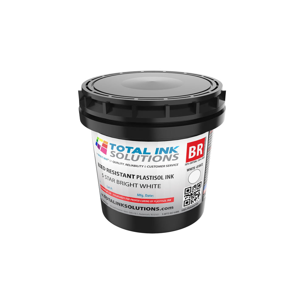 Bleed Resistant Plastisol Ink - 5 Star Bright White - Pint