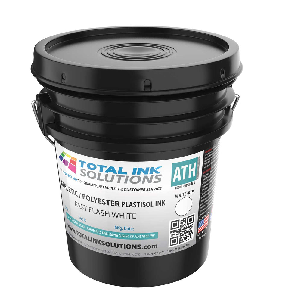 FAST FLASH Athletic 100% Polyester Plastisol Ink - White - 5 Gallon