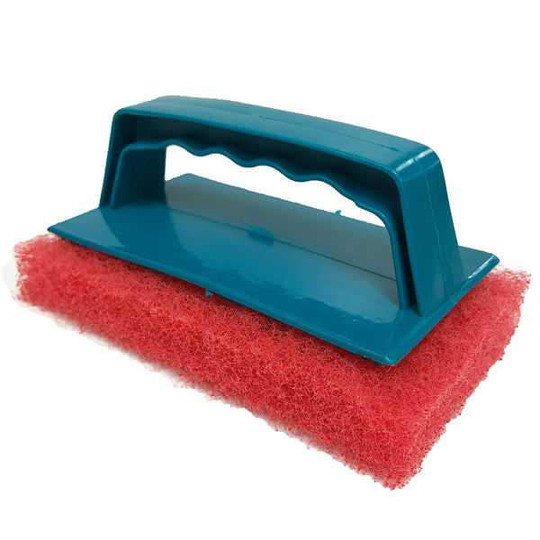 Red  Biggee Scrub Pad (Gentle) and Handle