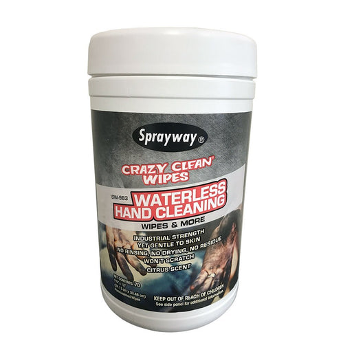 Sprayway 983 Crazy Clean Waterless Hand Cleaning Wipes - (70 sheets)